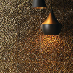 Wall Installations - tile, glass, artistic, gold, wall accent, large format, wall tile