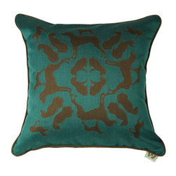 Crypton - Crypton Petalonia Pillow - This puppylicious pillow has a playful design of prancing pooches that you'll adore. The canine print creates a mandala that has so much style, and the complimentary colors will make you ooh and ahh! This pillow is nothing to woof at.