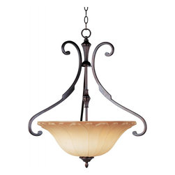 Joshua Marshal - Three Light Oil Rubbed Bronze Wilshire Glass Up Pendant - Three Light Oil Rubbed Bronze Wilshire Glass Up Pendant