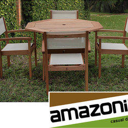 Amazonia - Torino Eucalyptus Wood Patio Dining Set - Make eating outdoors simple and elegant with this five-piece outdoor patio dining set. Crafted from eucalyptus wood, this set includes an octagonal table and four stacking chairs that provide function and beauty to your patio, deck, or backyard.