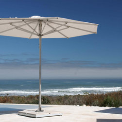 ShadeScapes - Storm Market Umbrella - Nautically inspired, this large-scale market umbrella is perfect to withstand oceanside breezes and windier locations where greater strength is required.