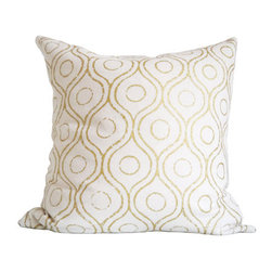Metallic Gold Print on Cream Silk Cushion Cover by Earth Lab - The subtle metallic gold pattern on this throw pillow will add a little shine to a mostly masculine space.