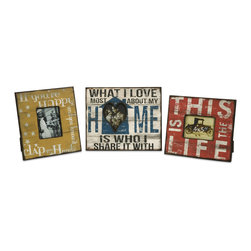 iMax - Morris Home Happy and Life Frames, Set of 3 - This set of three frames feature bold sayings you will be proud to display in your home with the photos of people you cherish the most.