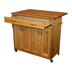 Catskill Craftsmen - Mid-Size Super Cart - Drop leaf doubles work surface. Four flat panel doors. Larger drawer. Adjustable interior shelves. Spice rack. Towel bar. Locking caster wheels. Nickel plated hardware. Warp resistant side and back panels. Made from solid hardwood. Oiled finish. Made in USA. Drawer: 30.25 in. L x 12.25 in. W x 3.5 in. H. Table top with drop leaf up: 38 in. L x 26.5 in. W. Table top with drop leaf down: 38 in. L x 16.5 in. W. Cabinet: 34.25 in. L x 13.88 in. W x 22.25 in. H. Overall: 40 in. L x 26.5 in. W x 34.5 in. H. Care Instructions. Assembly Instructions