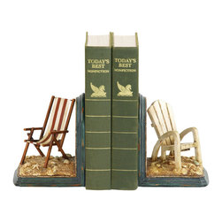 Sterling Industries - Sterling Industries 91-4206 Sterling Pair Of Beach Chair Bookends - Bookends Are Another Great Desk Accessory That Help Keep Order While Adding A Touch Of Style. You Can Add A Hint Of Coastal Living To Your Home With The Pair Of Beach Chair Bookends By Sterling. One Bookend Features An Adirondack Chair In A White Distressed Finish And The Other Features A Sling Style Folding Chair In A Red And White Stripe. These Bookends Will Have You Reminiscing About Those Long Summer Days Sitting On The Beach, On The Dock Or On Your Backyard Deck. This Is A Great Novelty Item That Will Look Great  On A Book Shelf In The Living Room, Bedroom, Home Office Or Library. The Bookends Measures 9 Inches Long X 4.25 Inches Wide X 5.5 Inches Tall. Sold As A Pair.  Bookend (2)