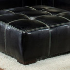 Chelsea Home - Upholstered Square Ottoman - Vinyl and suede upholstery. Elpaso black and sierra graphite cover. Dacron wrapped 1.8 density foam cushion. Seating comfort: Medium. Leggett and platt sinuous spring system. Made from hardwood, softwood and engineered wood. Made in USA. No assembly required. 39 in. L x 39 in. W x 19 in. H (35 lbs.)