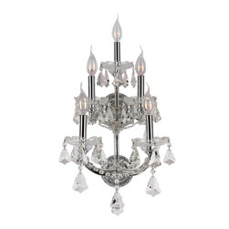 Worldwide Lighting - Maria Theresa 5 light Chrome Finish with Clear Crystal Wall Sconce - This stunning 5-light wall sconce only uses the best quality material and workmanship ensuring a beautiful heirloom quality piece. Featuring a radiant chrome finish and finely cut premium grade crystals with a lead content of 30%, this elegant wall sconce will give any room sparkle and glamour. Worldwide Lighting Corporation is a premier designer manufacturer and direct importer of fine quality chandeliers, surface mounts, and sconces for your home at a reasonable price. You will find unmatched quality and artistry in every luminaire we manufacture.