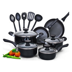 Cook N Home - Cook N Home 15 Piece Non stick Black Soft handle Cookware Set,NC-00296 - Color: Black | Size: 15 Piece