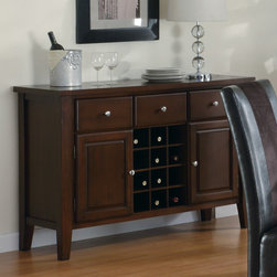 "Coaster - Rodeo Server With Wine Rack in Cherry - Storage and sophistication are achieved in a stylish manner with the Rodeo Server. Three drawers, two doors, and a built-in wine rack make this server a storage haven, dressed in a romantic cherry finish and bejeweled with decorative knobs. Keep your wine glasses and precious silver safe and organized in the server with its drawers and door compartments. Its modest frame and simple design give the server a simple sophistication that will match your elegant dining room decor.; Transitional Style; Finish: Cherry; No assembly required.; Dimensions: 52""L x 18""W x 36""H"