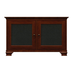 Howard Miller Custom - Kelsey Cabinet w 2 Doors in Saratoga Cherry - This cabinet is finished in Saratoga Cherry on select Hardwoods and Veneers, with Antique Brass hardware. 2 doors with speaker grill panels. 2 adjustable interior shelves. Cove profile top and Ogee profile base. Hardware: ring pulls on doors. Features soft-close doors and metal shelf clips. 50 1/4 in. W x 23 1/2 in. D x 31 in. H