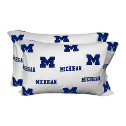 College Covers - NCAA Michigan Wolverines Pillowcases Two-Pack White Set - Features: