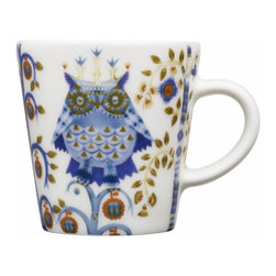 Iittala - Taika Espresso Cup Only, White - You'll really want to linger over espresso served in this charming cup. The adorable owl print seems to have flown in from a favorite fairy tale to make your real world more magical.