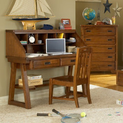 American Woodcrafters - Heartland Computer Desk and Hutch - The Heartland 's simple spice protective finish is durable and easy to maintain. And each drawer is center guided with positive drawer stops for seamless operation with no accidental removal. The tip resistant furniture brackets will ensure that no matter what the adventure is, your daredevil will remain safe. Features: -Desk and hutch.-Recessed gun metal hardware.-English dovetailed front and back with center guided drawer glides.-Felt in the bottom of all top drawers and dust proofing on bottom drawers to protect fine garments.-Solid wood drawers sides and backs in Albasia wood.-With Asian veneer drawers fronts with rubberwood bands on all 4 sides.-Nine openings in the hutch for storage.-2.75'' Thick drawers.-Asian hardwoods and veneers construction.-14.5'' Deep with finished interior drawers.-Heartland collection.-Distressed: No.-Collection: Heartland.Dimensions: -Overall Product Weight: 91.3 lbs.Assembly: -Assembly required.Warranty: -Manufacturer provides one year warranty from ship date.