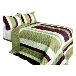 Blancho Bedding - [Light Music] 3PC Vermicelli-Quilted Patchwork Quilt Set (Full/Queen Size) - The [Light Music] 100% TC Fabric Quilt Set (Full/Queen Size) includes a quilt and two quilted shams. This pretty quilt set is handmade and some quilting may be slightly curved. The pretty handmade quilt set make a stunning and warm gift for you and a loved one! For convenience, all bedding components are machine washable on cold in the gentle cycle and can be dried on low heat and will last for years. Intricate vermicelli quilting provides a rich surface texture. This vermicelli-quilted quilt set will refresh your bedroom decor instantly, create a cozy and inviting atmosphere and is sure to transform the look of your bedroom or guest room. (Dimensions: Full/Queen quilt: 90.5 inches x 90.5 inches; Standard sham: 24 inches x 33.8 inches)