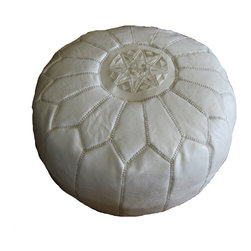Kenza - Moroccan Leather Pouf / Ottoman, White - Moroccan Leather Pouf made of 100% leather with silk embroidery. Perfect for indoors and can be used around the house and as an extra seat around coffee tables or next to a sofa. Can also be used as an ottoman. Dimensions: Diameter: 21 Inches Height: 11 Inches