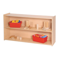 "Steffywood - Steffywood 27"" High Kids Toy Book Puzzle Organizer Two Shelf Wooden Storage Unit - Two shelf storage unit is perfect for books, puzzles and general supplies. Maple wood grained melamine laminate panels with rounded and finished edges.Maple faced scratch resistant melamine panels are 5/8""thick. All edges have full finished rounded smooth corners. Sturdy dado construction with 1/4""thick wood grained recessed back panel. All tools and hardware are supplied for easy assembly. Made in the use."