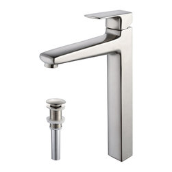 Kraus - Kraus Virtus Single Lever Vessel Faucet/ Pop Up Drain Brushed Nickel - A sleek,stylish and minimalist tap,this Kraus solid brass bathroom vessel faucet will pair well with any modern bathroom. Features a Hungarian Kerox cartridge and Neoperl Aerator for cutting edge practicality and precise temperature control.