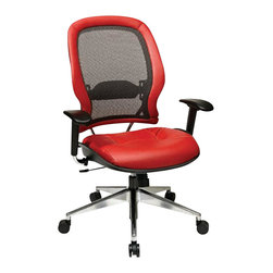 Office Star - Office Star 335 Series Breathable Mesh Back Chair in Red - Office Star - Office chairs - 335L92P91A8 - Professional Charcoal Breathable mesh back with Crimson Red leather seat and Trim adjustable arms and Polished Aluminum base. Breathable mesh back with adjustable lumbar support. One touch Pneumatic seat height adjustment. Deluxe 2-to-1 synchro tilt control with adjustable tilt tension. Cantilever arms with soft PU Pads. Heavy duty Angled Polished Aluminum base with oversized dual wheel carpet casters.