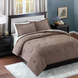 Avenue 8 - Avenue 8 Microsuede Comforter Mini Set - Add warmth and style to your current d̩cor with this solid Microsuede Comforter Mini Set. The comforter features a solid brown brushed microsuede fabric that has pick stitching details and a subtle circular tacking pattern to enhance this look. The sham(s) coordinate back to the comforter with the same pick stitch detail with a clean flange finish. Both reverses to a solid brown color made of soft microfiber fabric. 100% Polyester Micro suede
