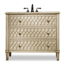 """Cole & Co - Designer Mallory Sink Chest - Two drawers for storage. Lattice front drawers and delicate sunflower patterned drawer pulls. Made from hardwood solids. 40 in. W x 20 in. D x 35 in. H (104 lbs.)The Mallory Sink Chest brings a touch of the 1950s back into your decor. Cole + Co. Carlylse or Coventry Drop-in sinks for use with existing wooden top; Cole + Co. Fairfield undermount should you want to add your own granite, marble or quartz top.  If stone top is preferred, please note on order """"Cut for Granite"""" and our craftsmen will cut a large hole in the top of the vanity prior to shipment so that sink positioning during stone top installation is easier.  Please note all sink recommendations presume a standard 8 in. widespread faucet installation with 1 3/8in. valves and no special placements.  Any and all vanities with custom cuts (including for a specified sink or stone top) are considered a special order, and therefore are non-returnable.  Cole will also cut to your own custom sink presuming it fits.  Just note on the order which sink you will be using.  If we do not have a template for your particular sink, to insure a proper fit, we may require you to send the sink or a template."""