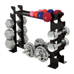 Apex Multiple Dumbbell Rack - Keep your weights in place with the Apex Multiple Dumbbell Rack. Made of 14-gauge, solid steel, this durable rack accommodates neoprene or cast iron dumbbell and keeps your weights organized and easily accessible.About Impex FitnessEstablished in 1980, Impex Fitness is on the front lines of innovation in today's health marketplace. They specialize in home fitness/smith machine style equipment that appeals to the whole family and offers a complete workout experience. Impex encompasses a variety of brands including Marcy, Competitor, Hers, Easy Outdoor and Gym Dandy for children. Your family's health as their highest priority, Impex Fitness strives to develop the most pioneering fitness equipment available.