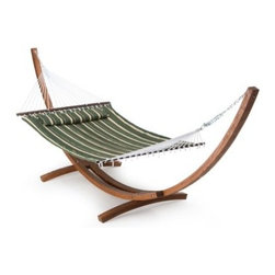 Island Bay 13 ft. Seagrass Quilted Hammock with Wood Arc Stand - Take a load off this summer by yourself or with a lounging mate. This large Island Bay 13 ft. Seagrass Quilted Hammock with Wood Arc Stand is built for two adults in need of a lazy afternoon. A wide, sturdy spreader bar keeps the hammock flat and comfy, good for a nap or a long book. And the free matching pillow really ups the Ahh factor. The dimensions of the bed itself are 6 feet 5 inches in length and 4 feet 6 inches in width. Overall, this hammock stretches a total of 11 feet 5 inches and requires a hanging distance of at least 13 feet with a 16-foot maximum. The maximum weight capacity is 450 pounds. Hanging hardware is included.About the Wood Arc Stand Beautiful Russian pine wood construction Sculptural and sturdy arc design For use with most spreader bar hammocks Includes hanging hardware Assembly required Dimensions: 15L x 4W x 4H feet About Island BayIsland Bay brings you well-designed, authentic hammocks and accessories from around the world. From the East Coast to the West Indies, the hammock is recognized as the ultimate getaway, so we've dedicated ourselves to getting it right. You'll find eye-catching colors and patterns, comfortable outdoor designs, and heavy-duty stands designed to keep you swinging peacefully. It's your world ... relax in the real thing.
