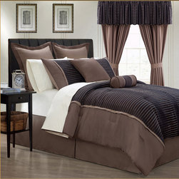 Limbo 24-piece Brown Contemporary Bed in a Bag with Sheet Set -
