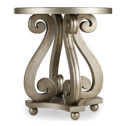 "Hooker Furniture - Hooker Furniture Melange Luna Accent Table - Four symmetrical S curves serve up a charming surface for your favorite things in the delightful Luna Accent Table. Hardwood Solids and Resin. Dimensions: 24""W x 24""D x 26.25""H."
