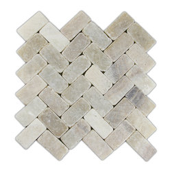 """Pebble Tile Shop - Mixed Quartz Herringbone Stone Mosaic Tile - Usage:        Walls, shower floors, bathroom floors, general flooring, backsplashes, swimming pools, patios, fireplaces and more. Interior & exterior. Commercial & residential.    Details:            Sheet Backing: Mesh          Sheet Dimensions: Approx 11\ x 12\""""          Coverage Size: Approx 0.92 sq. ft.           Size of Each Stone: Approx 2 3/8\"""" x 1 1/8\""""          Thickness: 4/10\""""          Finish: Natural Mixed Quartz"""""""