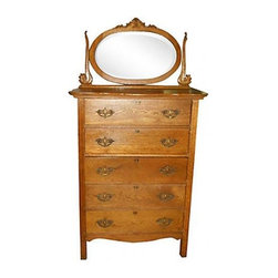 Consigned, Golden Oak Highboy Dresser w/detachable Mirror - Nice tiger oak dresser with 5 drawers.  Original dresser pulls, Mirror is in  good condition.  Drawers slide good, but due to age (100 years) and weather, sometimes a little difficult.  If you are looking for a real antique in a spare bedroom this would be great.