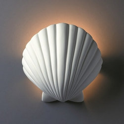 None - 1-light ADA Scallop Shell Ceramic Sconce - Enjoy the beauty of this natural ceramic bisque fixture. This 1-light wall sconce is hand crafted in the USA, a perfect addition to any space.