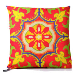 "Concepts Life - Concepts Life Decorative Throw Pillow  Moroccan Medallion   Orange and Yellow - Just as in life, every room needs a touch of pizzazz. You'll never be bored of these bright Moroccan Throw Pillows, which add just the right amount of ""umph"" to an otherwise conservative space.  Beautiful pattern printed on fabric Materials: Polyester cover with poly filler Spot clean Dimensions: 16""h x 16""w Weight: 1 lb Pillow arrives in a vacuum sealed bag Once pillow is aired and fluffed it will regain its full, soft and plump shape"