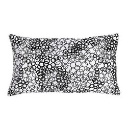 Jiti White & Black Faux Silk Rectangle Pillow - Hundreds of black bubbles on a white background and an appearance of fine silk make the Jiti White & Black Faux Silk Rectangle Pillow a designer-quality bedroom accent. It's covered in 100% polyester with a down-filled insert to make it soft and comfortable. Use it on its own or to complement other Jiti pillows for a complete bedroom makeover.About Jiti Pillows:Jiti has a wide range of bedding and accent pillow products so you're sure to find the perfect complement for your home decor in their line. The company is based in Los Angeles California and all of their products are proudly made in America. Using luminous colors rich patterns and varied textures Jiti creates products that can help you give your room an exotic makeover in minutes. Goga Bouquet Jiti's designer gets her inspiration from her Argentine heritage and her fascination with Indian culture. The result is beautiful exotic pieces that still have a modern feel.