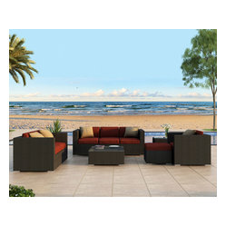 Urbana 5-Piece Outdoor Wicker Sofa Set, Henna Cushions