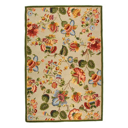 """Safavieh - Chelsea Rug, Sage, 2' 6"""" x 12' - 100% pure virgin wool pile, hand-hooked to a durable cotton backing. American Country and turn-of-the-century European designs. This collection is handmade in China exclusively for Safavieh."""