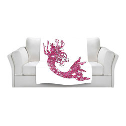 DiaNoche Designs - Fleece Throw Blanket by Susie Kunzelman - Mermaid Pink - Original Artwork printed to an ultra soft fleece Blanket for a unique look and feel of your living room couch or bedroom space.  DiaNoche Designs uses images from artists all over the world to create Illuminated art, Canvas Art, Sheets, Pillows, Duvets, Blankets and many other items that you can print to.  Every purchase supports an artist!