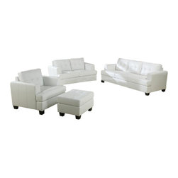 "Acme - 3-Piece Diamond White Bonded Leather Match Sofa, Love Seat and Chair - 3-Piece Diamond white bonded leather match sofa, love seat and chair with squared padded arms and tufted back and seats. Sofa measures 86"" x 37"" x 36"" H. Love seat measures 63"" x 37"" x 36"" H. Chair measures 43"" x 37"" x 36"" H. Some assembly may be required. Ottoman also available separately and measures 28"" x 22"" x 18"" H. Ottoman also available separately and measures 28"" x 22"" x 18"" H."