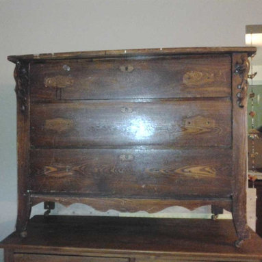 Before & After - Eastlake dresser -- saved from an old garage, ready to be cleaned up and refinished