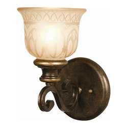 Crystorama - Single Lighted Wrought Iron Wall Sconce with Amber Glass Pattern - Wrought iron wall sconce hand painted with a amber glass pattern.