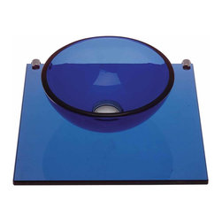 Renovators Supply - Glass Sinks Blue Glass Sink Mystic Plateau Wall Mount Vessel | 12838 - Blue Mystic Plateau: Miniature wall mount tempered glass vessel sink. Small and space saving mini sink. Uses a wall-mount faucet not included--check our huge selection. Counter 16 5/8 inch wide x 16 1/2 inch projection Bowl 11 3/4 inch in diameter x 4 inch deep.