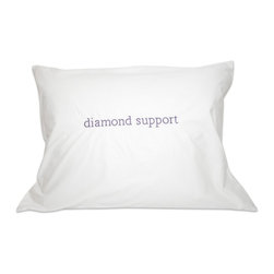 Down Etc. - Down Etc. Diamond Support Feather Pillow - White, Queen 20 X 30 - Our down etc 235TC Diamond Support Feather Pillow Supersoft, Preshrunk, Downproof Cotton, Double Layer Quilted Fabric. With Double Stitching and German Cotton Piping details. Filled with CentroClean™ Feathers and Down, this pillow is also Hypoallergenic. Packaged in individual White Cotton Fabric Bag with handles. Dry Clean or wash cold in a large dryer with mild detergeant. When drying, set your dryer on it's lowest heat setting and include 3 clean tennis balls, a pair of white tennis shoes or a similar items to agitate the fill.