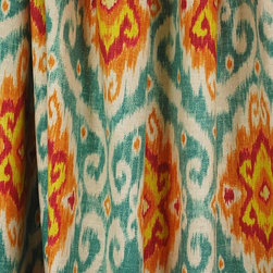 Waverly - Ubud Sunstone Iman Ikat Waverly Fabric - Waverly fabric Ubud in the color sunstone is a stunning Ikat fabric. With red, orange and gold this contemporary fabric is a great weight for pillow, bedding, draperies and light upholstery.  Fabric is sold by the continous yard.