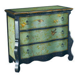 Hammary - Hammary T71171-00 Hidden Treasures Accent Chest in Painted Aqua and Black - The Hidden Treasures collection is a fabulous assortment of one-of-a-kind accent pieces inspired by the greatest furniture designs from around the world. Each selection is a true treasure - rich in old world icons and traditions. All the pieces in this collection are crafted with attention to every detail. From brass nailhead trim and exquisite hand-painting to elegant shaping and decorative trim, every item is a unique work of art. A wide variety of materials is used to create the perfect look and finest quality - from exotic woods, leather and stone to raffia and glass. The huge selection of finishes, hardware, exceptional carvings and other final touches offer unsurpassed versatility for any room in the home. Hidden Treasures includes cocktail tables, occasional and accent pieces, trunks, chests, consoles, wine racks, desks, entertainment units and interesting storage pieces. Place one in a comfortable reading nook... In the family room for flair and variety... In the foyer for a welcome look... In a bedroom for cozy style... Or in the office for function and versatility. The pieces in this collection mix beautifully with any decorating style and will easily become the focal point in any setting.