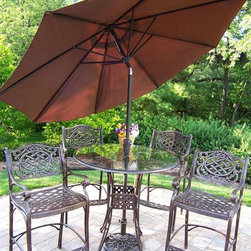 Oakland Living - Mississippi 42 in. 5 Pc Bar Table Set w Umbre - Set includes Bar Table, 4 Bar Stools, Umbrella, and Stand. Made of Rust Free Cast Aluminum Construction. Easy to follow assembly instructions and product care information. Stainless steel or brass assembly hardware. Fade, chip and crack resistant. 1 year limited. Lightweight and constructed of rust-free cast aluminum. Hardened powder coat finish in Antique Bronze for years of beauty. Antique Bronze finish. Some assembly required. 42 in. W x 42 in. L x 44 in. H (179 lbs.)This seven piece Bar Set will be a beautiful addition to your patio, balcony or outdoor entertainment area. Bar sets are perfect for any small space, or to accent a larger space.