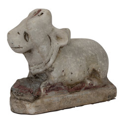 Singh Imports - Consigned Antique Marble Nandi Bull - This is an original 19th century marble Nandi bull from Rajasthan state of India. Nandi is a vahana (carrier) of God Shiva. Nandi represent Dharma, will power and fulfills all wishes.