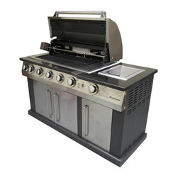 Landmann USA - Landmann Great Outdoors Island Gas Grill with cover Multicolor - 42145 - Shop for Grills from Hayneedle.com! Where we're going we don't need kitchens! The Landmann Avalon Great Outdoors Gas Grill Islandr is a big shiny behemoth that has more than enough space for preparing and grilling all of your favorite meals right in your own backyard. The whole thing base and all is built from 430 stainless steel with double-wall end caps. In short: it's tough and pretty. Seven burners include 4 stainless steel tubular burners at 52 000 BTUs a ceramic back burner at 10 000 BTUs an infrared side burner at 13 000 BTUs and an infrared bottom burner at 14 500 BTUs! That's a lot of heat and with the rotisserie kit there's no limit to the things you can cook on this grill. It also features a sliding drawer that can be used for an ice bin or trash compartment with its'removable liner grease drawer double door cabinet storage area and control knobs that glow a bright blue so you can cook for your party long after the sun goes down. Measures 60L x 26W x 47H inches and comes with a protective PVC cover to extend the life of your grill.