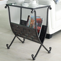 Monarch - Black / Taupe Mix Metal Magazine Table with Tempered Glass - This unique magazine table is both stylish and multi-functional. It features a spacious weaved metal rack to hold your magazines and a tempered glass top where you can place your coffee cup as you read the latest novel. With its sturdy black, taupe mixed metal base, this piece is one of a kind.