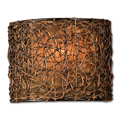 Uttermost - Knotted Rattan 1-Light Wall Sconce - It was a dark and stormy night. That is, until you enlisted your rattan wall sconce to light the way along that narrow corridor. After all, who could resist that free-flowing web of espresso-finished rattan wrapped around a golden brown linen shade? Such glowing reviews!