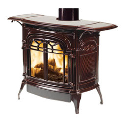 Vermont Castings - Vermont Castings SDDVTBD Stardance Direct Vent Gas Burning Stove - The Vermont Castings SDDVTBD Stardance Direct Vent Gas Burning Stove is part of the Stardance Series, and comes in a Bordeaux finish. This direct vent gas burning stove features a total control system for both the fan and the flame levels, a variable speed fan, an increased efficiency, operable open-door front viewing, and a Millivolt Manual ignition system.