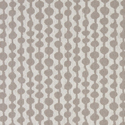 Grey and Off White Circle Striped Linen Look Upholstery Fabric By The Yard - This contemporary fabric is an excellent choice for all indoor upholstery! In addition to looking like linen, this material is woven for enhanced appearance and durability.